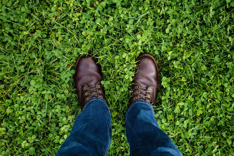 Man looking at his feet
