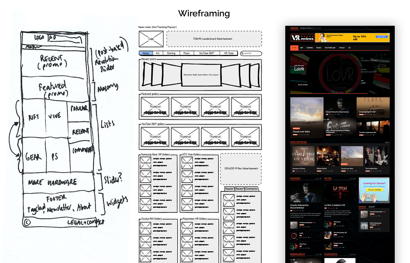 v-r.reviews - wireframing